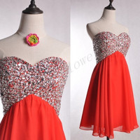 Short Red Beaded Prom Dresses,Sweetheart  Party Dresses,Wedding Bridesmaid Dresses,Homecoming Dresses,Ball Grown Dresses