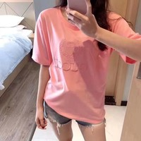 """""""Gucci""""Women Pink Cute Round Neck Shirt Top Tee All-match Casual Loose Fashion Clothes Letter Short Sleeve T-shirt"""