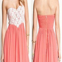 Nice Pink Lace Bra Chest Wrapped  Dress from styleonline
