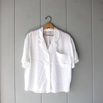 80s White Button Up Tee Oversized Basic 90s Rayon Shirt Short Sleeve Boxy Top Minimal Preppy Pocket Tee Womens Large 14