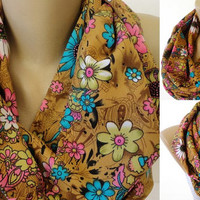 cute floral scarf , infinity scarf ,eternity ,colorful scarves ,both sides the same fabric ,two-ply