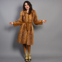 60s FUR Trench COAT / Boho Mod Belted Opossum Fur & Suede, xs-s