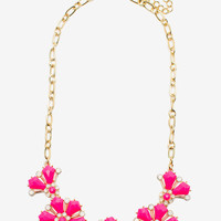 Parted Flower Cab Necklace