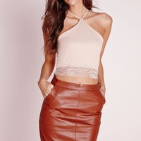 Missguided - Lace Trim Crop Top Nude