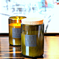 Evergreen Natural Soy Candle 8oz Wine Jar - Optional Cork Top Christmas Tree Pine Tree Balsam Fir Candle