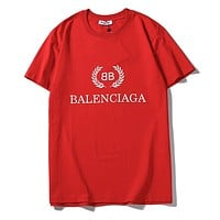 Balenciaga hot seller of casual short-sleeved t-shirts with fashionable monogram prints for couples Red