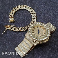 Raonhazae Hip Hop Iced Lab Diamond Drizzy Drake 14K Gold Plated Watch with 12mm Cuban Link Bracelet Set