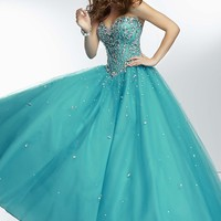 Long Strapless Tulle Ball Gown