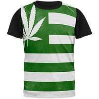American High Pot Leaf Flag All Over Mens Black Back T Shirt