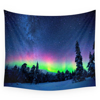 Society6 Aurora Borealis Over Wintry Mountains Wall Tapestry