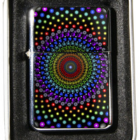 Windproof Customized Chrome Oil Lighter - Rainbow Psychadelic - Collectable, Refillable, Damn Cool. :)