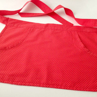 Red Polka Dot Apron, Red Apron, Ladies Apron, Kids Apron, Womans Apron