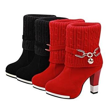 Women's Fashion Winter Cotton Combat Boots, Ladies High Heels Boot (Color: Black,Red) [8834005452]