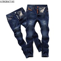 AIRGRACIAS Brand High Quality Style Brand Mens Jeans Dark Color Cotton Ripped Jeans For Men Fashion Designer Biker Jean