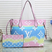 LV Louis Vuitton Gradient Colorful Internal Stripe Shoulder Bag Shopping Bag Two-piece
