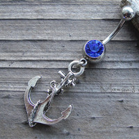 Knotted Anchor Belly Button Jewelry Ring- Crystal Belly Ring- Silver Anchor Charm Dangle Navel Piercing Bar Barbell