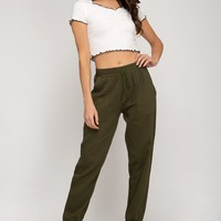 Jogger Pants with Elastic Waist and Pockets - Olive