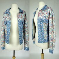 1990s denim jean jacket, blue and pink floral print cotton snap button Paris Blues jean jacket, Large to XL