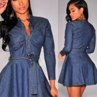 DENIM A-LINE MINI DRESS