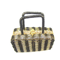 Gold Wicker Straw Purse Black Seed Bead With Handle Made in Hong Kong Clasp Clutch Handbag Vintage Accessories Costume Prop Prom