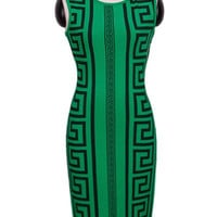 Green Printed Sleeveless Bodycon Dress