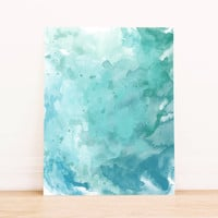 PRINTABLE Art Watercolor Splatter Paint Abstract Art in Seafoam Home Decor Office Decor Poster