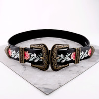 Embroidered Double Buckle Belt
