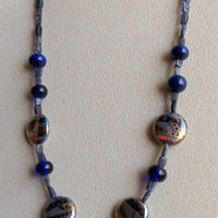 Water Sapphire Iolite Necklace with Porcelian Beads, Lampwork Beads Gold Filled Clasp, Smokeylady54