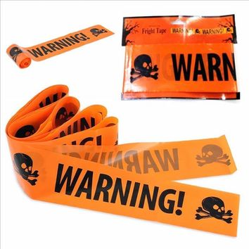 Skull Skulls Halloween Fall 1PC Halloween Props Window Prop Warning line Plastic  Head Warning Tape Signs Halloween Decoration Witch Balloons lot Calavera