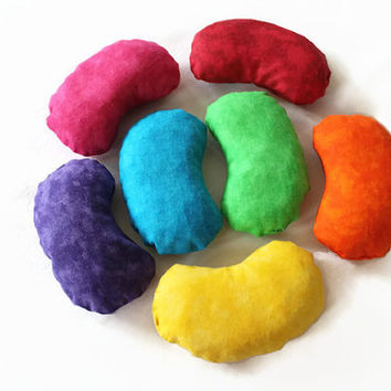 Rainbow Jelly Bean Shaped Bean Bags (set of 7) Purple Blue Green Children's Toy Toss Game Party Rice-filled - US Shipping Included