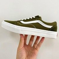 VANS shoes old school skateboard shoes canvas shoes Dark Army green ligh Army green contrast sneakers