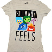 Disney mens Juniors Inside Out So Many Feels T-Shirt