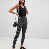 ASOS DESIGN skinny ponte pinstripe trousers at asos.com
