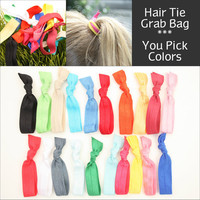 Yoga Hair Tie Grab Bag (20) No Crease Knotted Elastic Hair Ties, Double as Bracelets - Emi Jay Like Fabric Hair Bands, Hair Accessories
