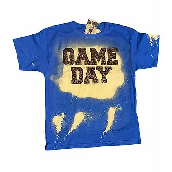 Game Day Leopard Bleached Dye Canvas Girlie T Shirt