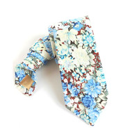 Blue Floral Necktie with White, Blue and Brown Floral Pattern, Man Necktie, Man Tie, Man Necktie