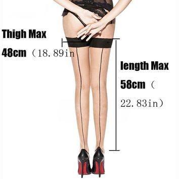 Women's Thigh High Stockings Sexy Stockings Cuban Heel Back Seam Stockings Lace  Sexy Lingerie Transparent Over The Knee SW058