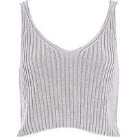 River Island Womens Grey metallic cropped tank