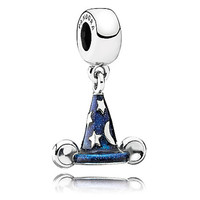 Disney Parks Mickey's Sorcerer's Hat Charm by PANDORA New With Pouch