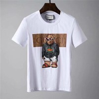 """2018 Gucci-The new """"Gucci"""" Men's short sleeve T-shirt, the upper body effect is super, fashion hundred simple short sleeve ღ 001"""