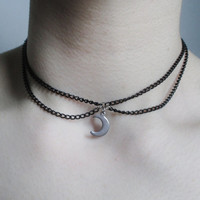 crescent moon double chain choker, gothic necklace, nu goth, pastel goth, grunge choker
