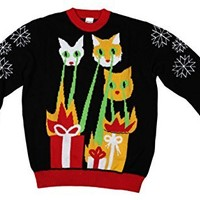 Laser Cat-Zillas Ugly Christmas Sweater-FunQi, Black (Small)