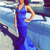 New Arrival Halter Blue Mermaid Prom Dresses 2016 Floor Length Beaded Taffeta Evening Party Dress Sexy Formal Gown Custom Made