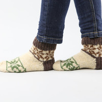 Cozy flowers hand knitted wool socks for women gift for by RGideas