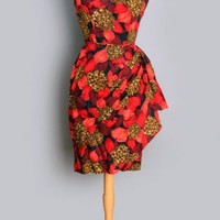 1950's Red Sexy Hawaiian Floral Sarong Dress - S VINTAGE HAWAIIAN DRESSES & CLOTHING: 40's, 50's, 60'S :
