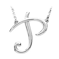 Sterling Silver, Olivia Collection, Medium Script Initial P Necklace