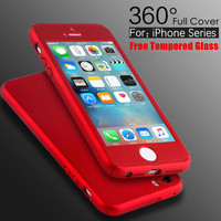 5S SE Luxury 360 Degree Coverage Hard PC Case For Apple iPhone 5 5S SE 6 6S 7 Plus Slim Full Body Cover+Glass Screen Protector