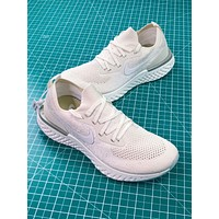 Nike Epic React Flyknit Triple White Sport Running Shoes - Sale