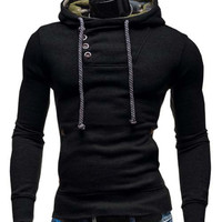 Oblique Button Hooded Long Sleeve Hoodie