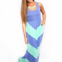 Walk This Way Again Maxi in Periwinkle & Mint